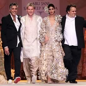 Shweta Bachchan Nanda and Brett Lee model Abu Jani and Sandeep Khosla Marriage Bridal Collection