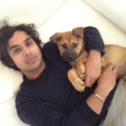 Kunal Nayyar, of Big Bang, with his dog Boba, at his house in LA.