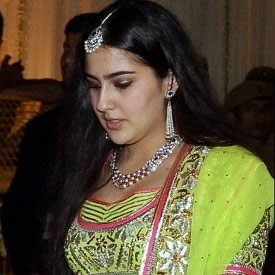 Saif's daughter, Sarah Ali Khan, at father Saif and Step mother Kareena Kapoor's Wedding Reception in Delhi.