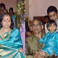 Vidya Balan's family, including Mother, Saraswathy Balan, father, P.R. Balan, brother-in-law, Kedar, nephew, Ruhaan and niece, Ira at her marriage Sangeet ceremony.