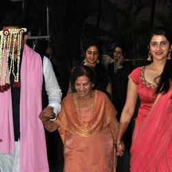 Mohit Suri arriving at his wedding to udita along with grandmother, sister and cousin.