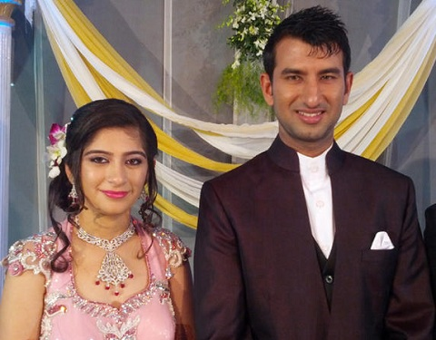 Photo of batsman Pujara and his wife at their Wedding Reception.