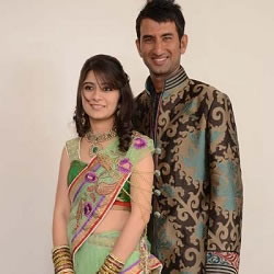 Cheteshwar Pojara with his wife Puja, after their engagement.