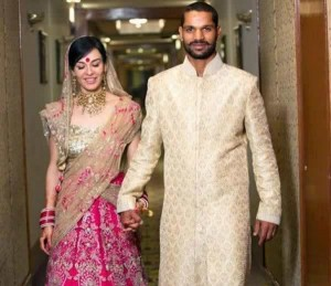 Wedding Picture of Shikhar Dhawan and wife, Aesha Mukherjee.