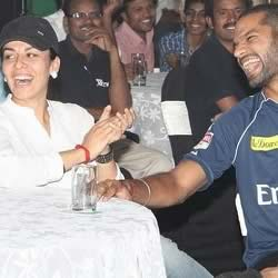 Shiker Dhawan with wife Ayesha at an IPL party. Aesha regularly accompanies Shikhar.