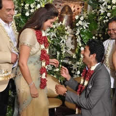 Ahana Deol gets engaged to Vaibhav Vohra, while father, Dharmendra, looks on.