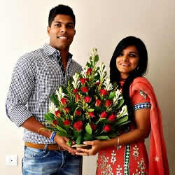 Engagement picture of Indian cricketer Umesh Yadav with wife, Tanya Wadhwa.