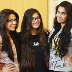 Wasim Akram's nieces (L to R) Minal, Eiman, Mishal Akram.