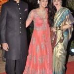 Rekha blessing the newly weds Ahana Deol and Vaibhav Vohra.