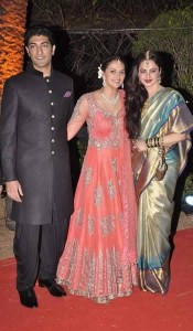 Rekha blessing the newly weds Ahana Deol and Vaibhav Vohra.