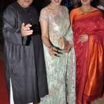 Hema Malini at Ahana's wedding, with Javed Akhtar & Shabana Azmi.