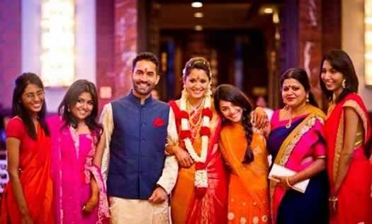 Dipika Pallikal with sisters and family, at her engagement to Dinesh Karthik.