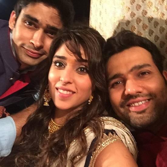 Ritika Sajdeh with Husband Rohit Sharma and Brother
